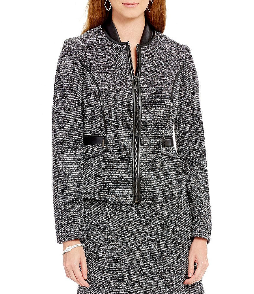 Kasper Round Neck Zip-Front Tweed Jacket