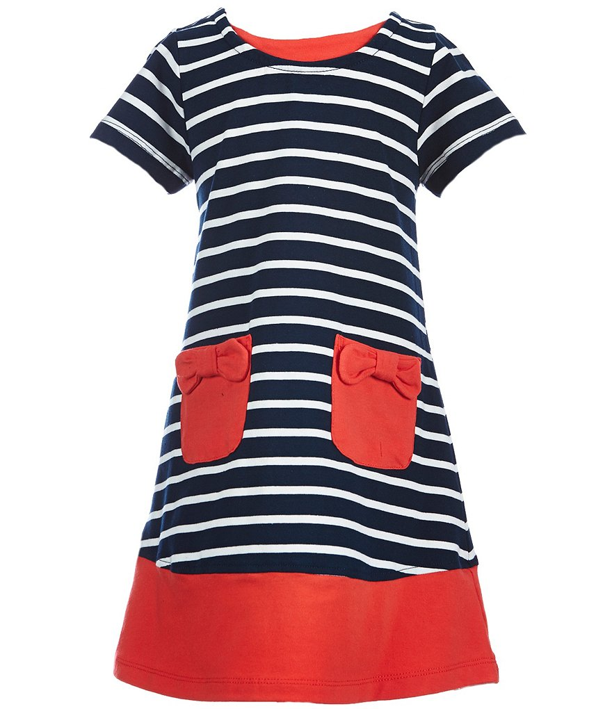 Rare Editions Little Girls 2T-6X Striped Bow-Pockets Dress