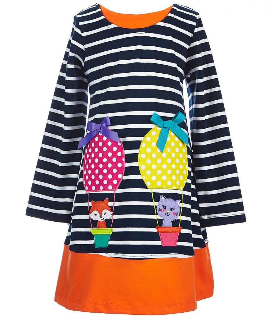 Rare Editions Little Girls 2T-6X Striped Animal Applique Dress