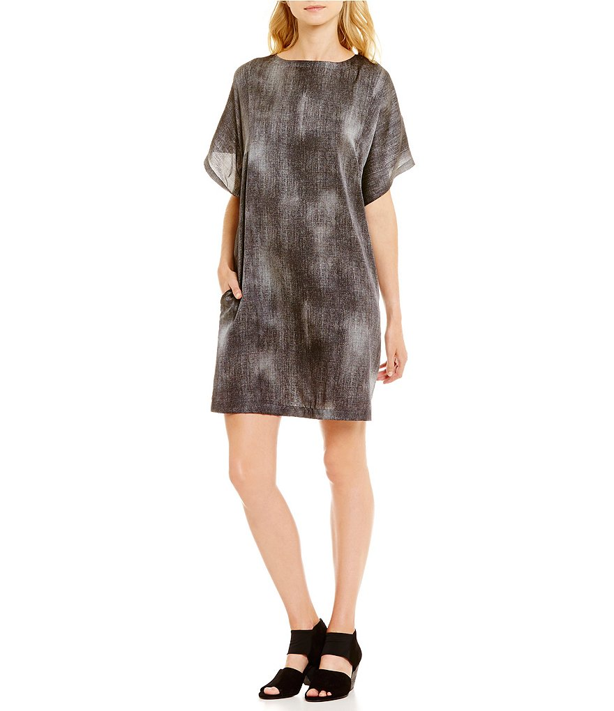 Eileen Fisher Bateau Neck Short Sleeve Printed Dress
