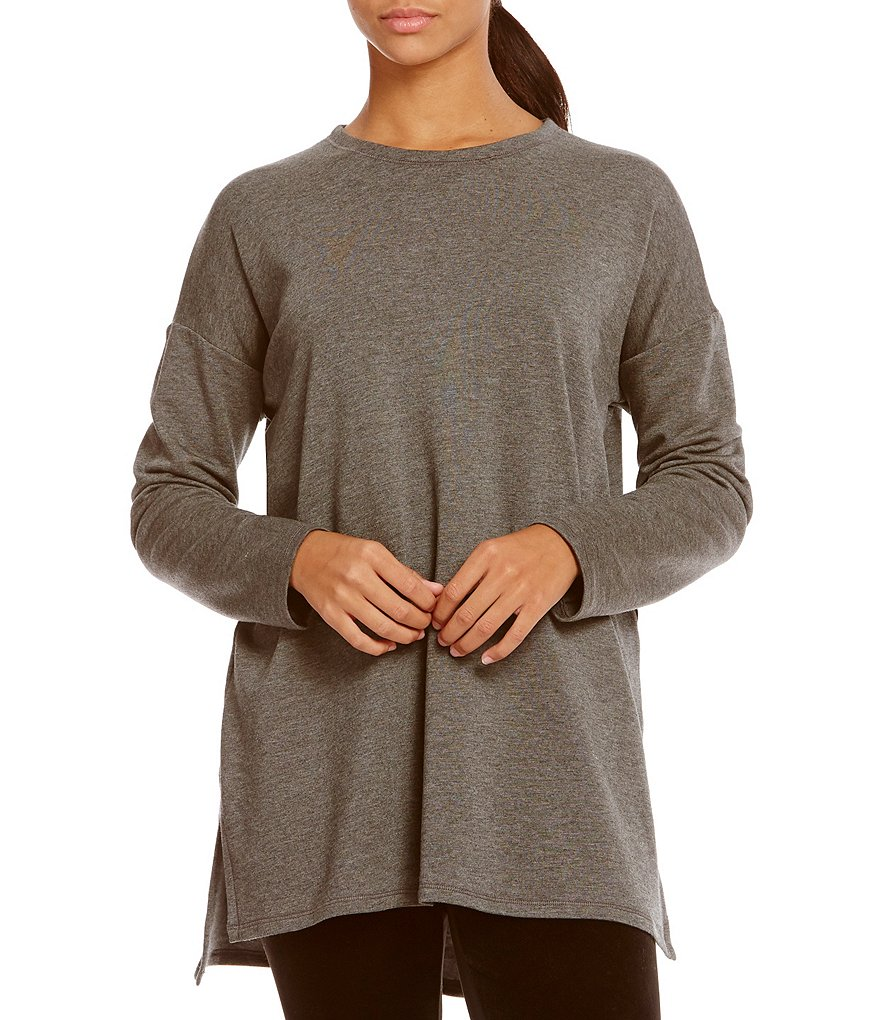 Eileen Fisher Crew Neck SIde Slit Boxy Tunic