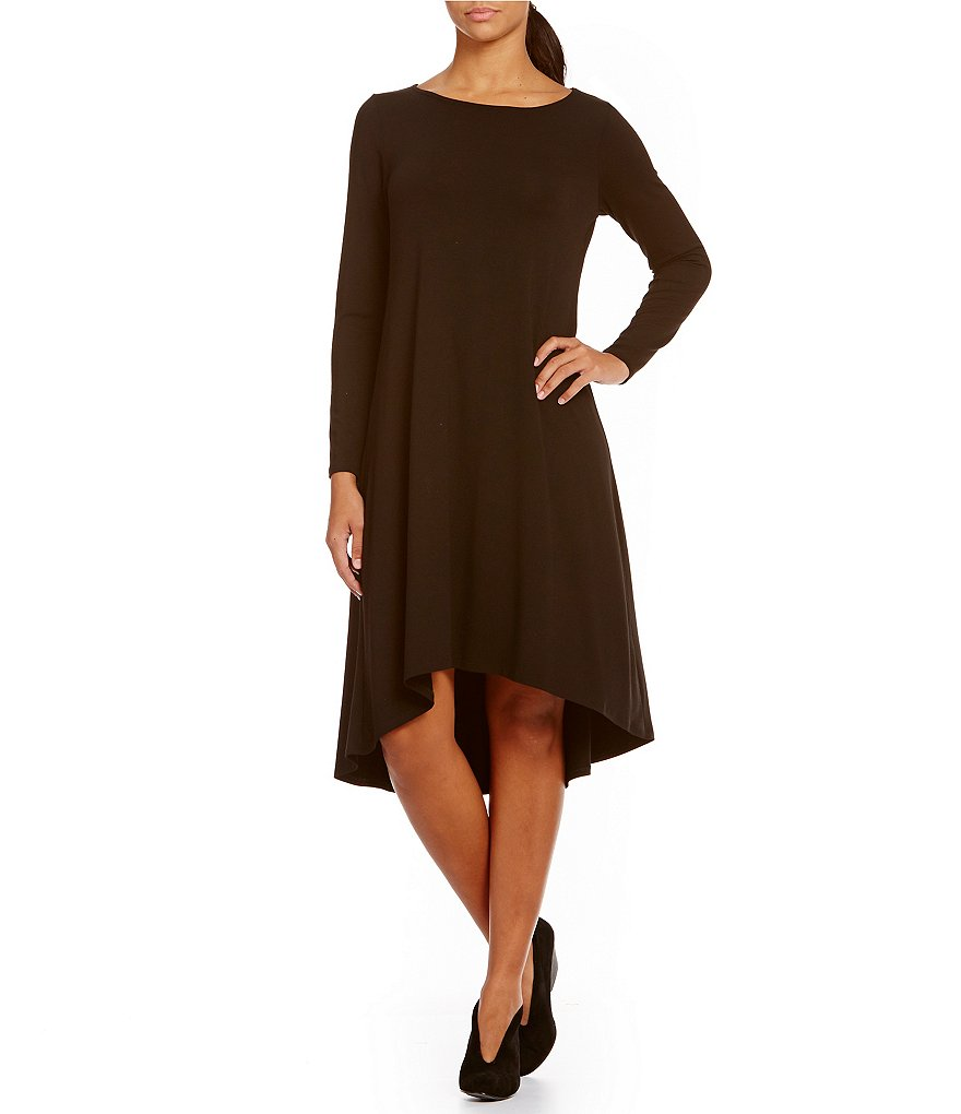 Eileen Fisher Ballet Neck Long Sleeve Hi-Lo Dress