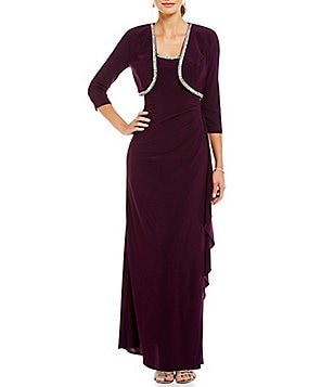 R&M Richards Bead-Trim 3/4 Sleeve Jacket Dress