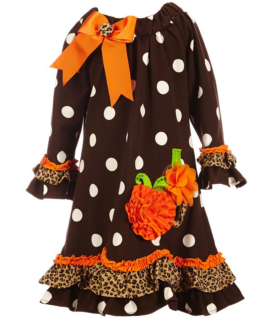 Rare Editions Little Girls 2T-6X Thanksgiving Polka-Dot Pumpkin Dress