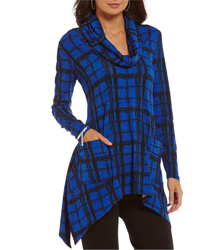 Chelsea & Theodore Cowl Neck Pocket Tunic