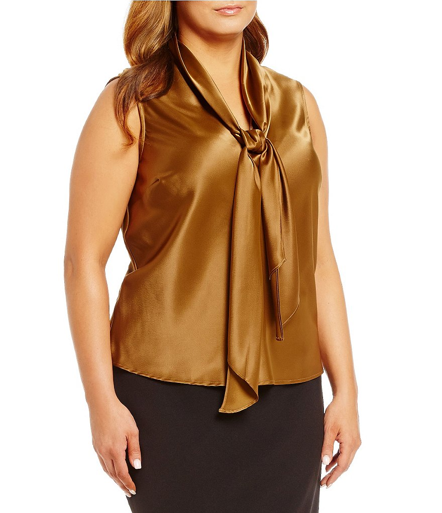 Kasper Plus Charmeuse Tie-Neck Sleeveless Blouse