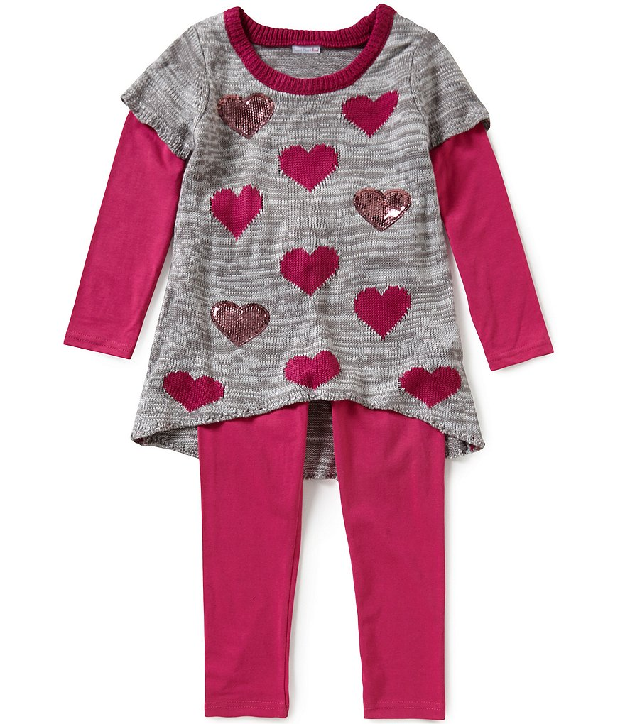 Sweet Heart Rose Little Girls 4T-6X 2-Piece Heart-Print Tunic & Leggings Set
