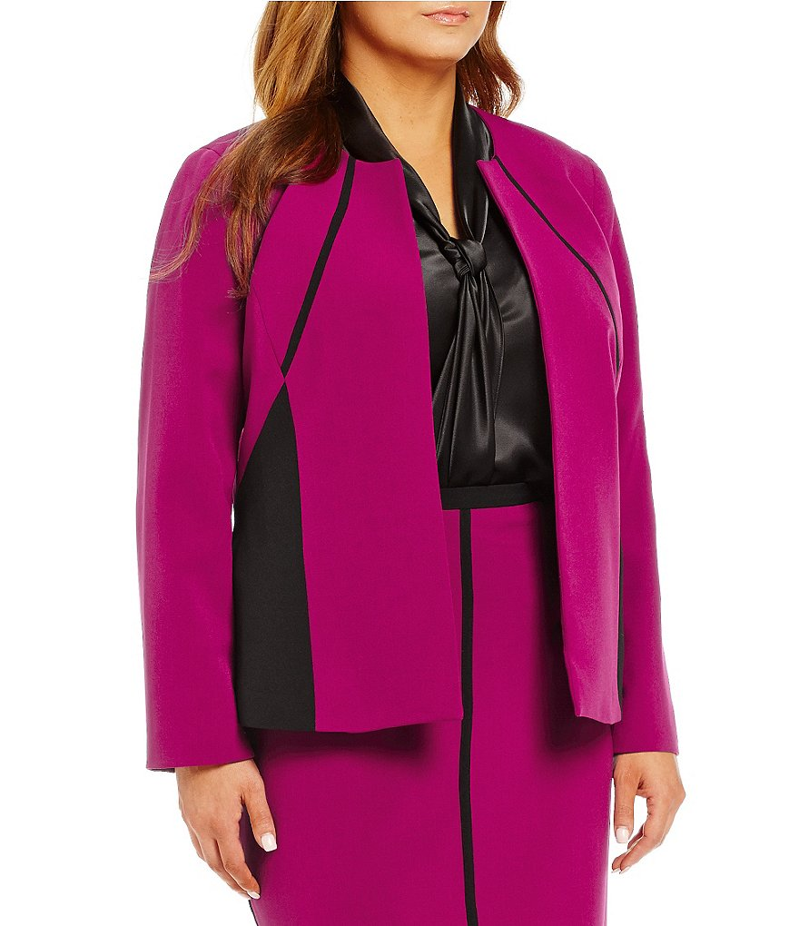 Kasper Plus Stretch Crepe Colorblock Open Front Jacket