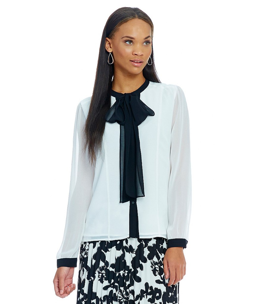 KARL LAGERFELD PARIS Tie Neck Blouse