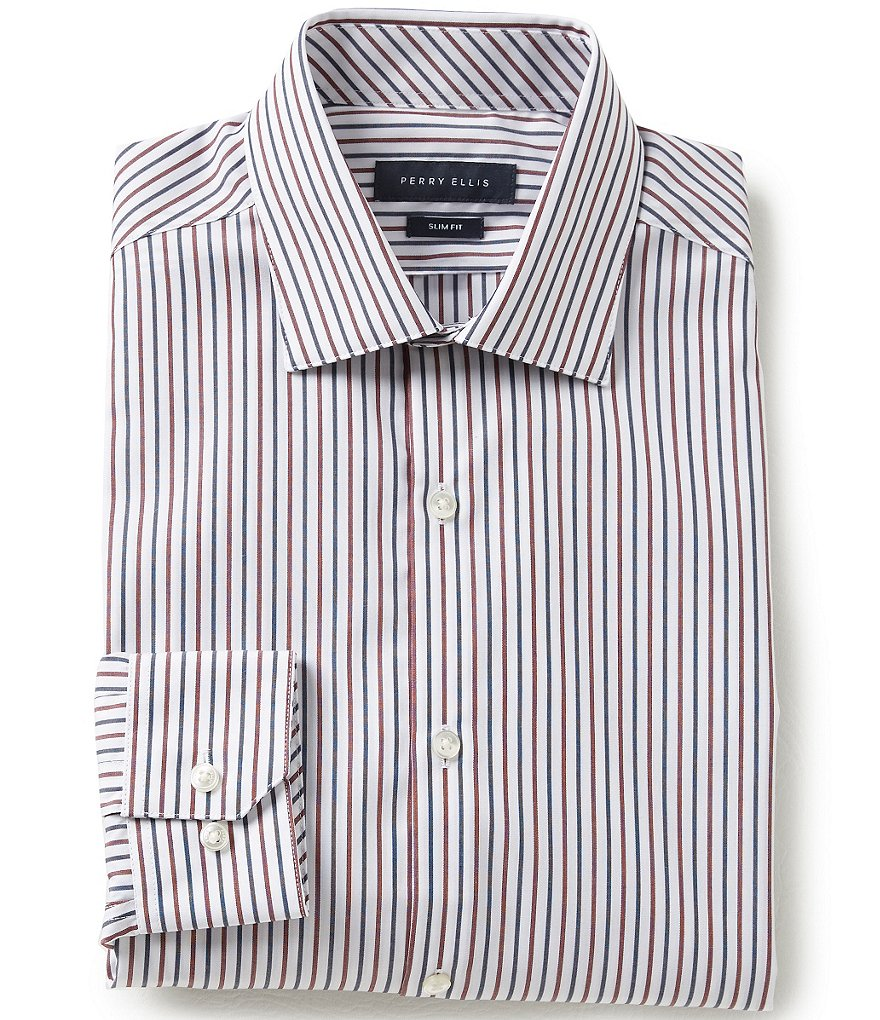 Perry Ellis Non-Iron Slim-Fit Spread-Collar Striped Long-Sleeve Dress Shirt