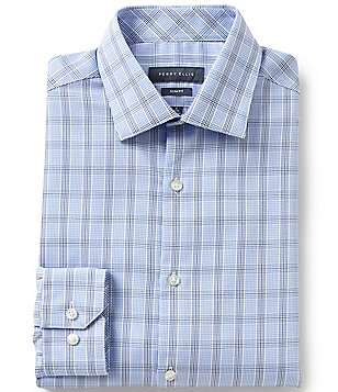 Perry Ellis Plaid Checked Non-Iron Spread-Collar Checked Long-Sleeve Dress Shirt