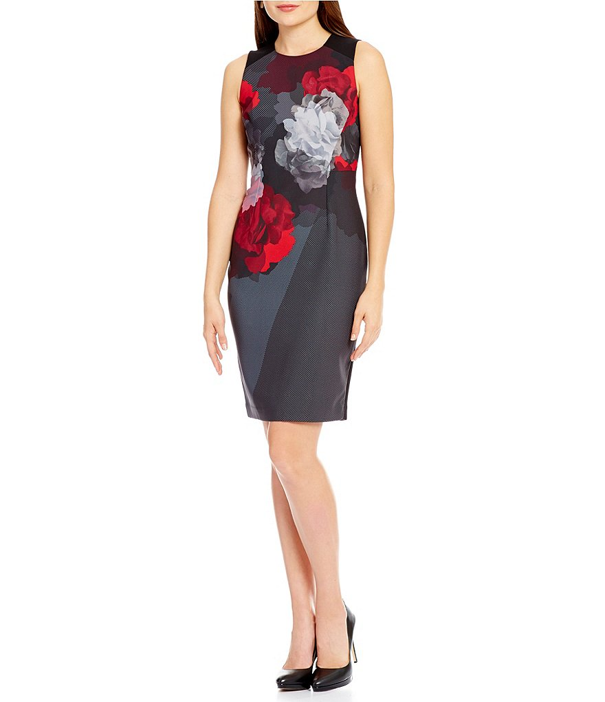 Ellen Tracy Placement Print Sheath Dress