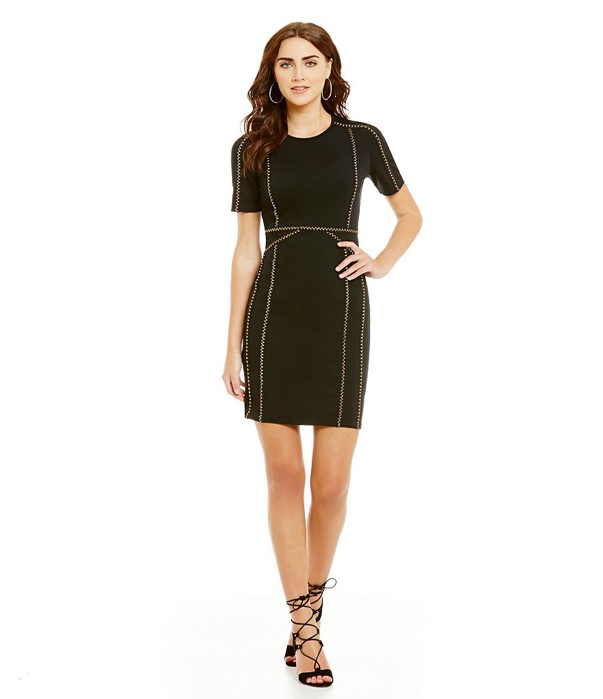 Chelsea & Violet Ponte Faux Leather Detail Short Sleeve Sheath Dress