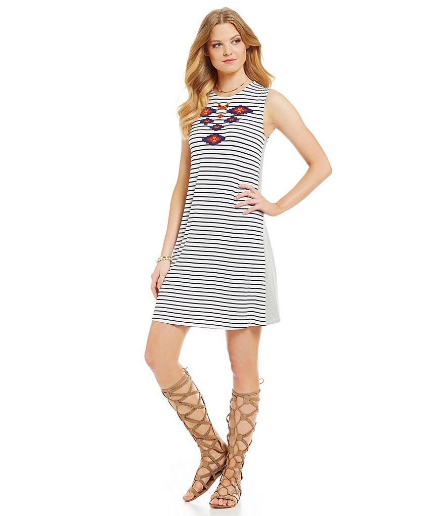 THML Striped Embroidered Tent Dress