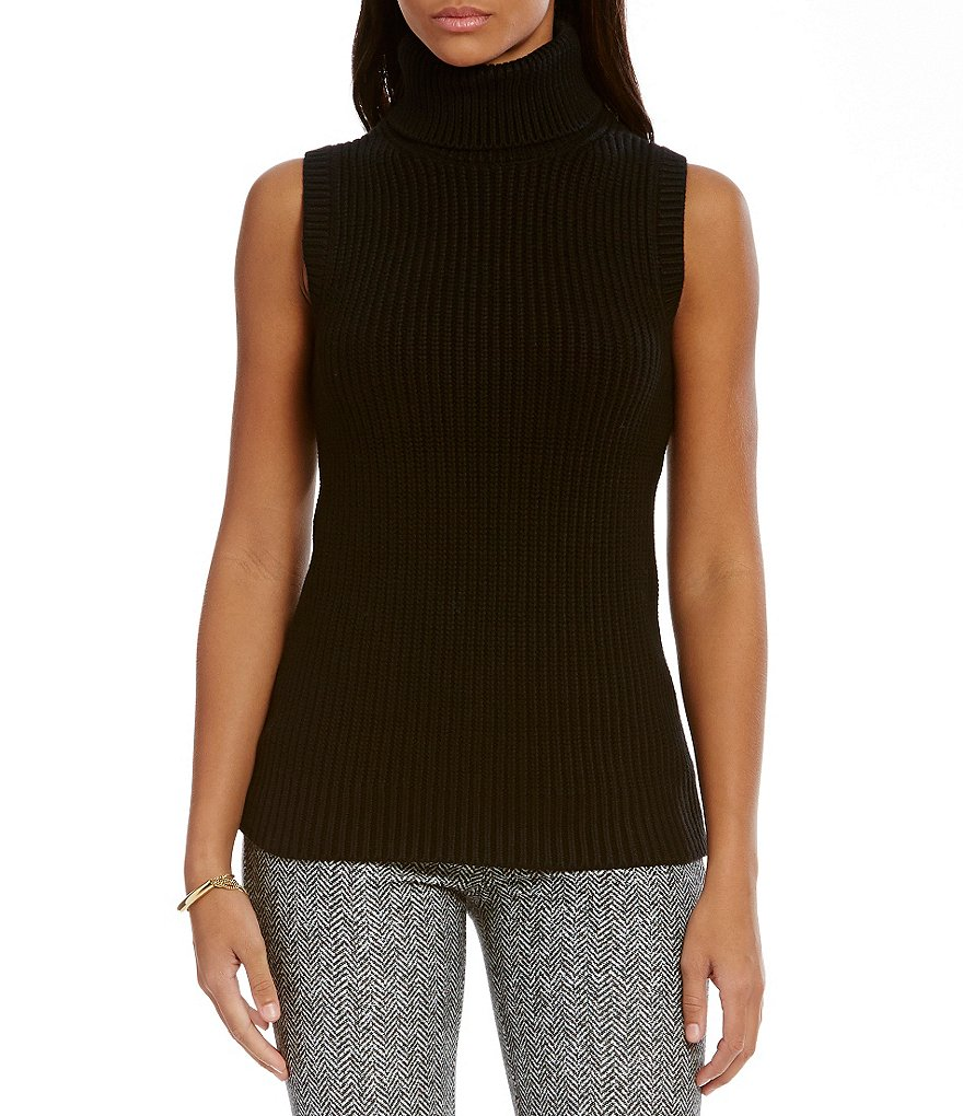MICHAEL Michael Kors Shaker Stitch Sleeveless Turtleneck Sweater