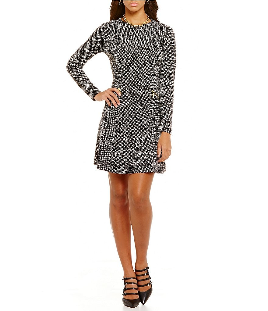 MICHAEL Michael Kors Norfold Tweed Ponte Knit A-Line Dress