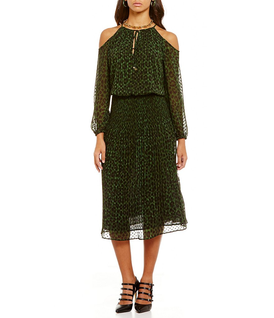 MICHAEL Michael Kors Spotted Cheetah Print Georgette Cold-Shoulder Dress