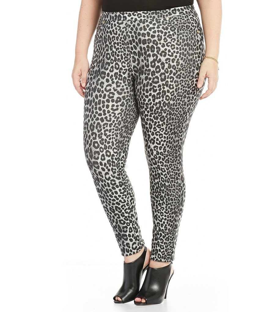 MICHAEL Michael Kors Plus Panther Print Stretch Twill Knit Leggings