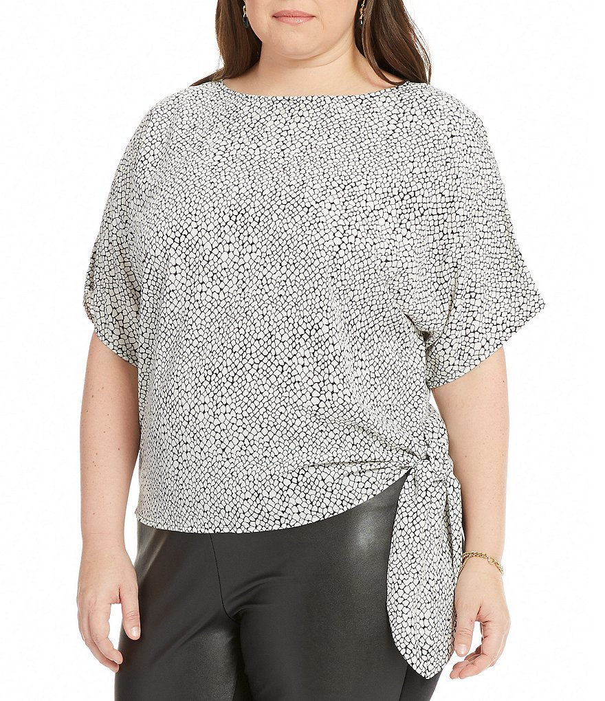 MICHAEL Michael Kors Plus Graphic Scale Print Side-Tie Top