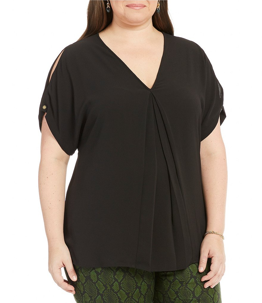 MICHAEL Michael Kors Plus Textured Crepe Inverted Front Pleat Top