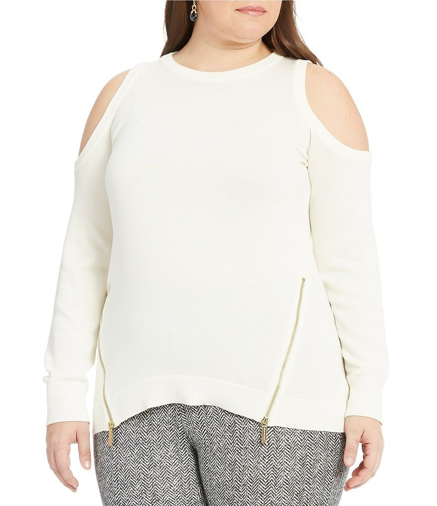 MICHAEL Michael Kors Plus Cold Shoulder Zip Hem Sweater