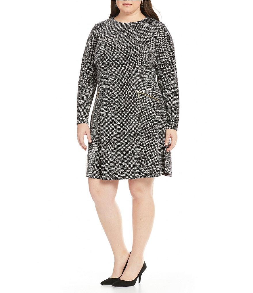 MICHAEL Michael Kors Plus Norfold Tweed Ponte Knit A-Line Dress
