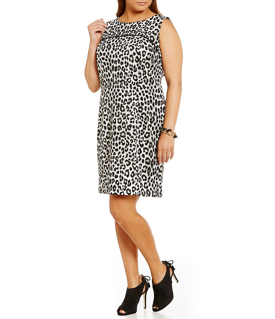 MICHAEL Michael Kors Plus Spotted Cheetah Ponte Knit Sheath Dress