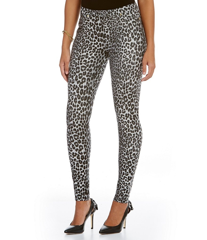 MICHAEL Michael Kors Panther Print Stretch Twill Knit Leggings