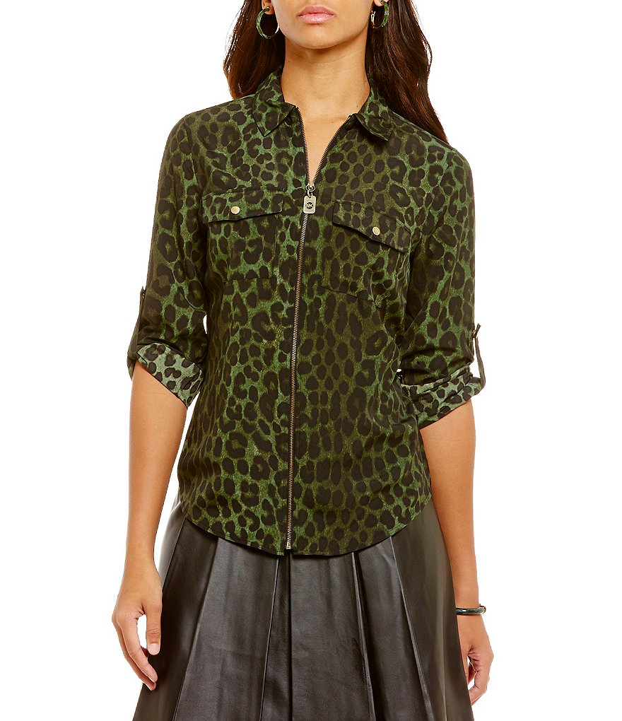 MICHAEL Michael Kors Spotted Cheetah Print Dog-Tag Zip Front Shirt
