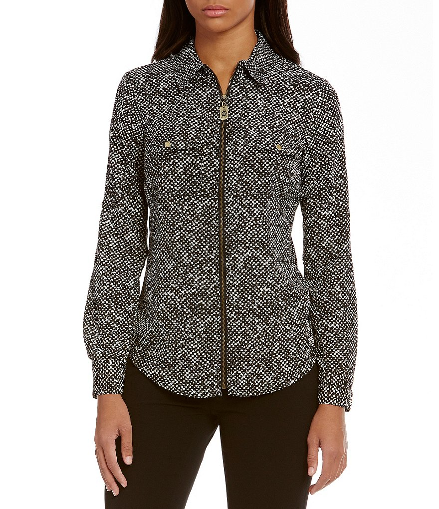 MICHAEL Michael Kors Norfolk Tweed Print Dog-Tag Zip Front Shirt