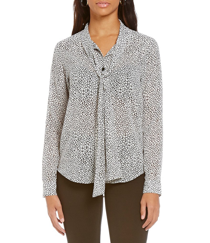 MICHAEL Michael Kors Graphic Scale Print Tie-Neck Long Sleeve Blouse