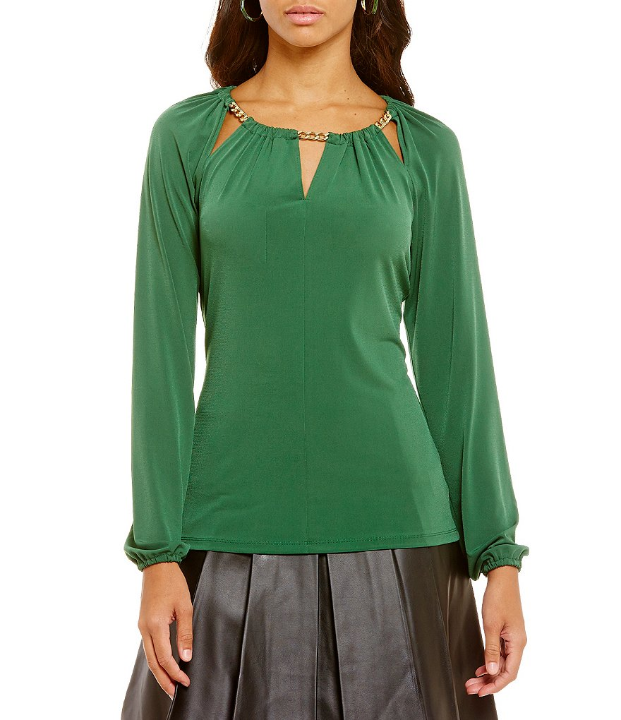 MICHAEL Michael Kors Bar-Neck Matte Jersey Peasant Top