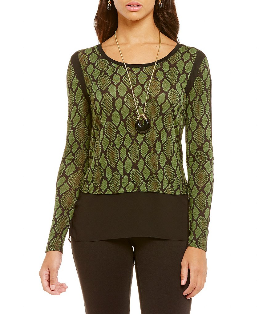 MICHAEL Michael Kors Diamond Snake Print Knit Jersey Hi-Low Woven Hem Top