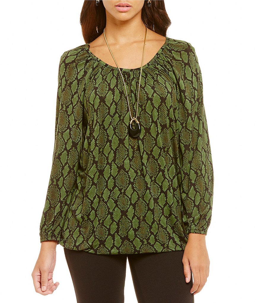 MICHAEL Michael Kors Diamond Snake Printed Knit Jersey Peasant Top