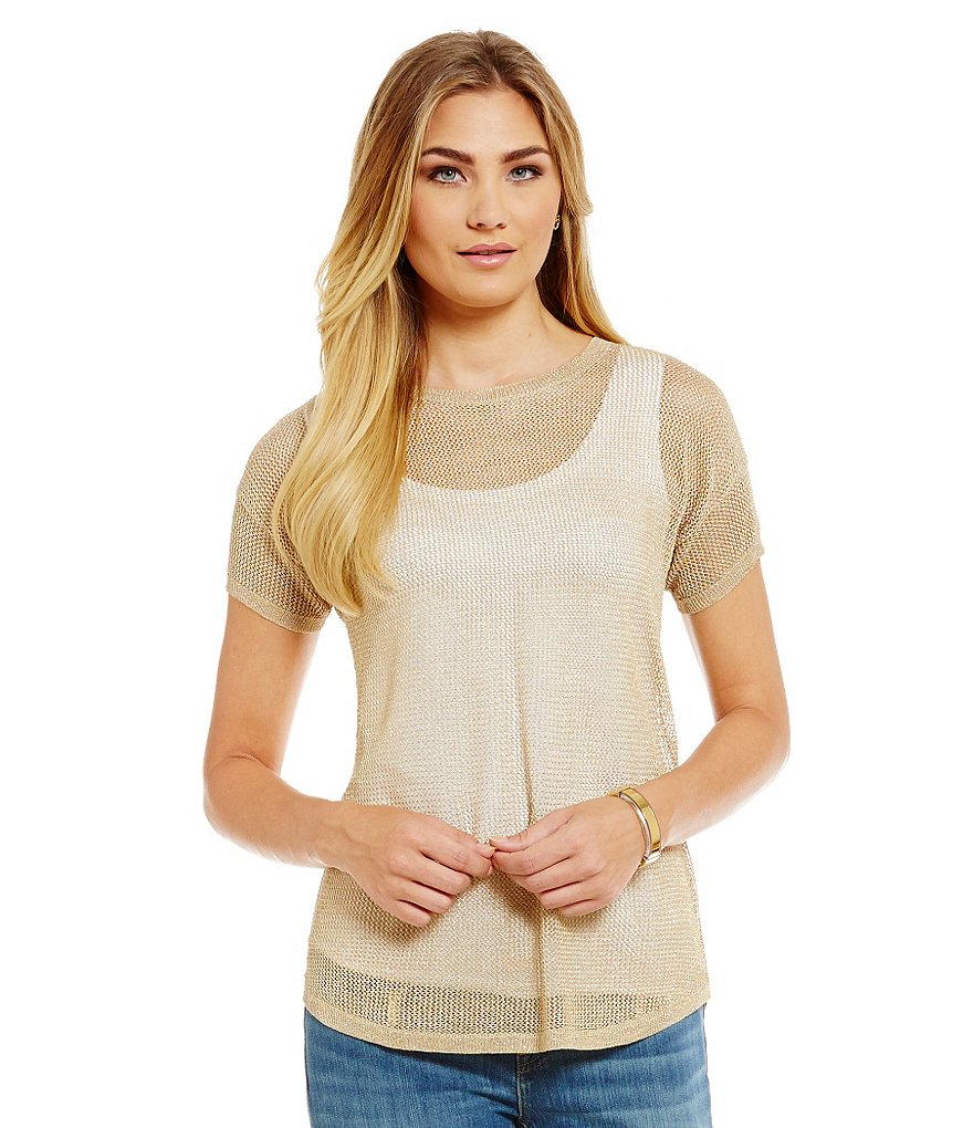 MICHAEL Michael Kors Lurex Mesh Knit Boxy Top