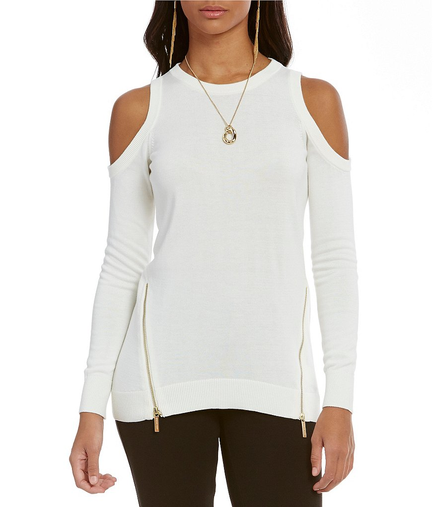 MICHAEL Michael Kors Cold Shoulder Zip Hem Sweater