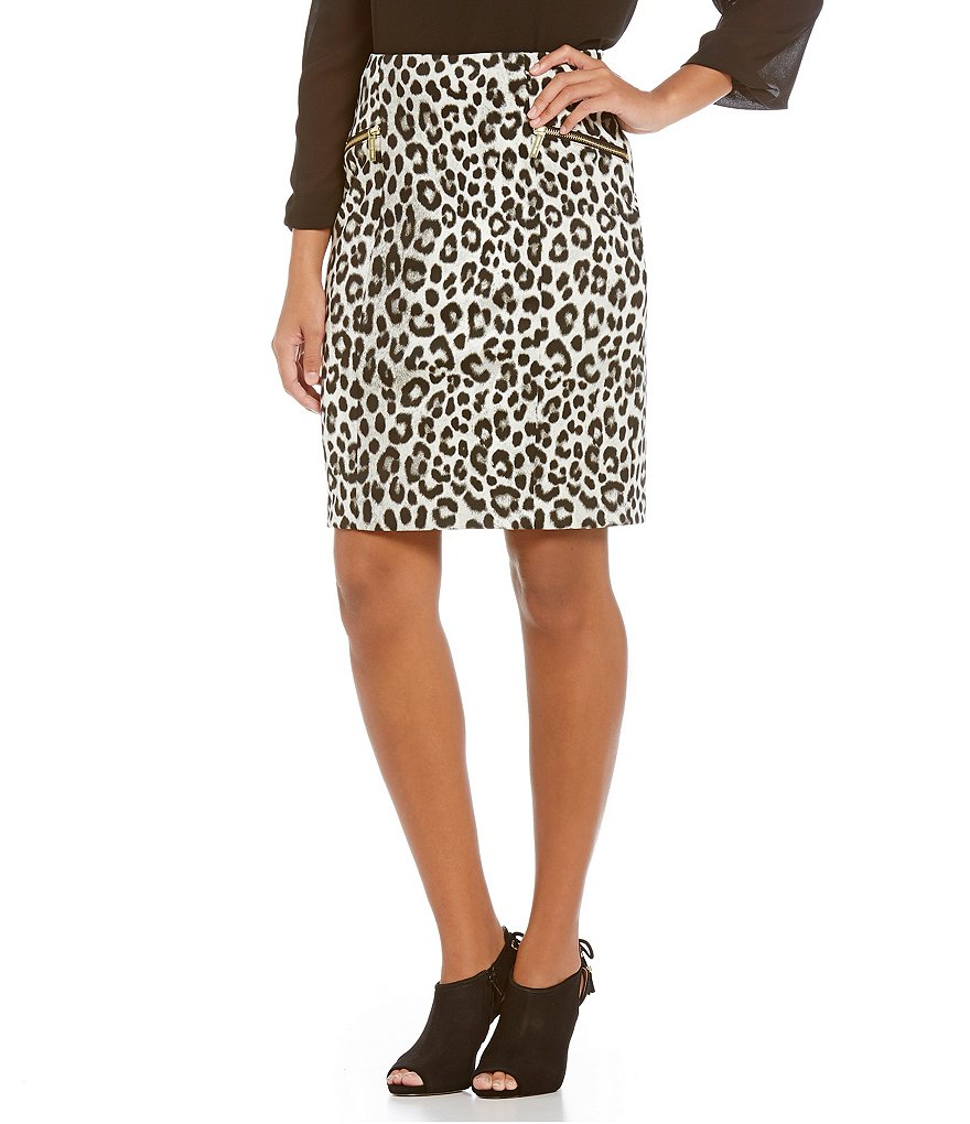 MICHAEL Michael Kors Spotted Cheetah Printed Ponte Knit Pencil Skirt