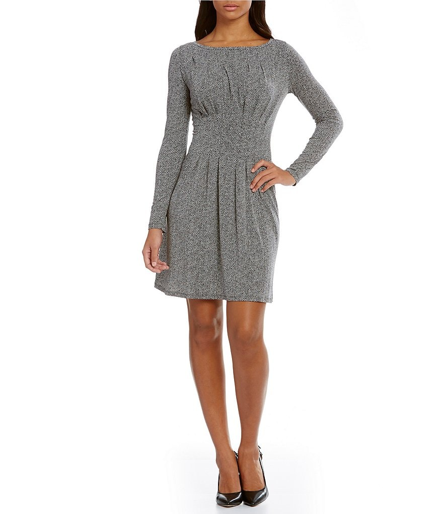 MICHAEL Michael Kors Desert Tweed Print Matte Jersey Pleated Dress