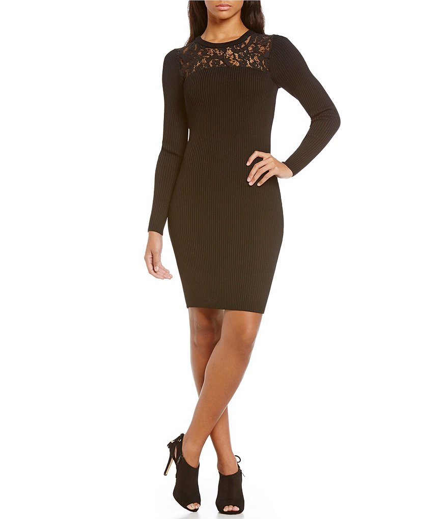 MICHAEL Michael Kors Lace Yoke Ribbed Knit Sheath Dress