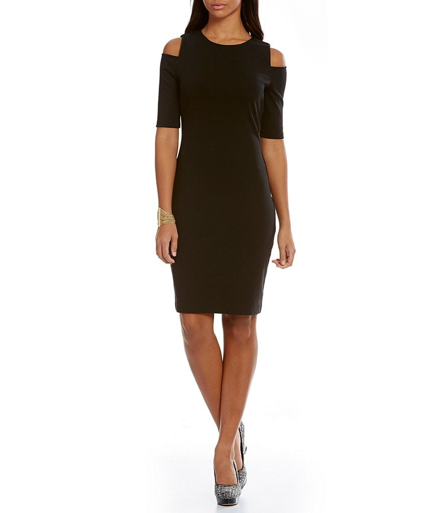 MICHAEL Michael Kors Cut-Out Shoulder Elbow Sleeve Ponte Knit Sheath Dress