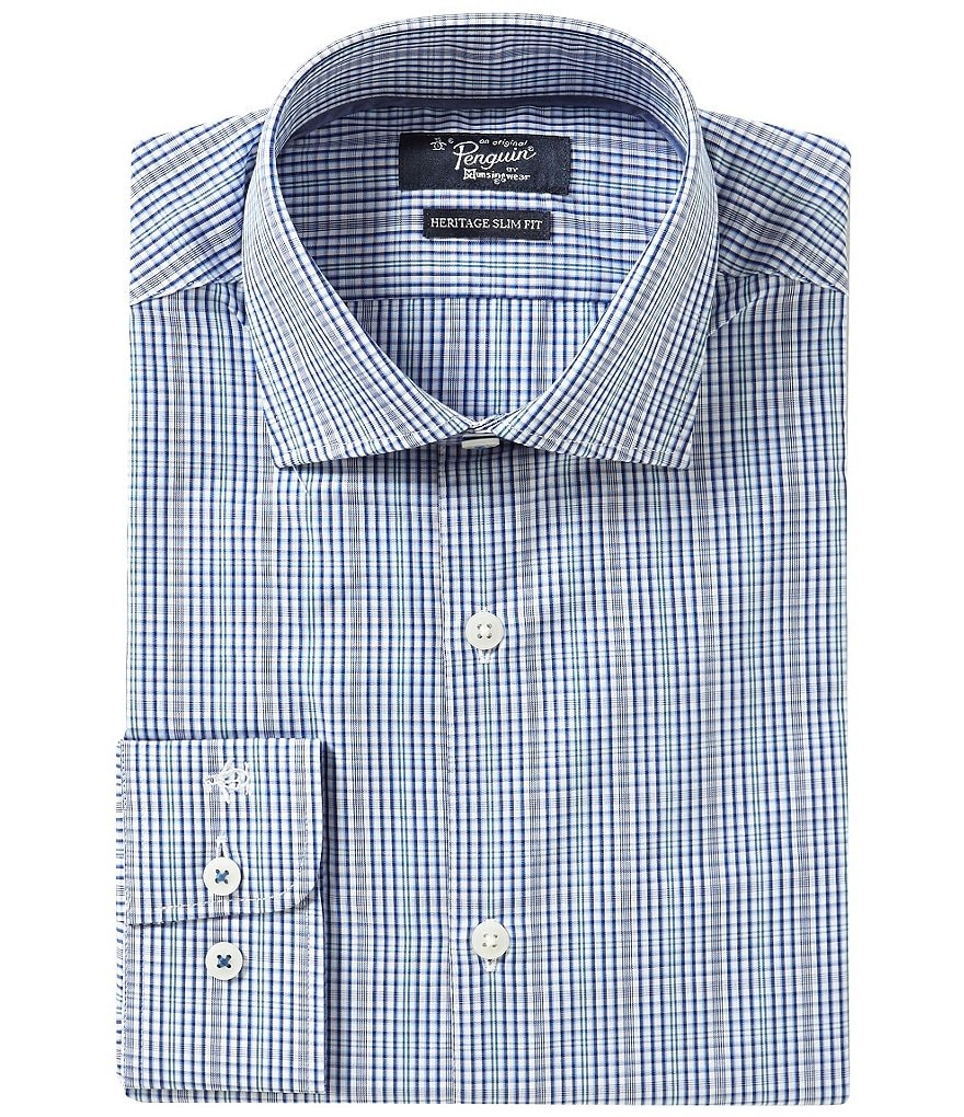 Original Penguin Heritage Slim-Fit Spread-Collar Plaid Dress Shirt