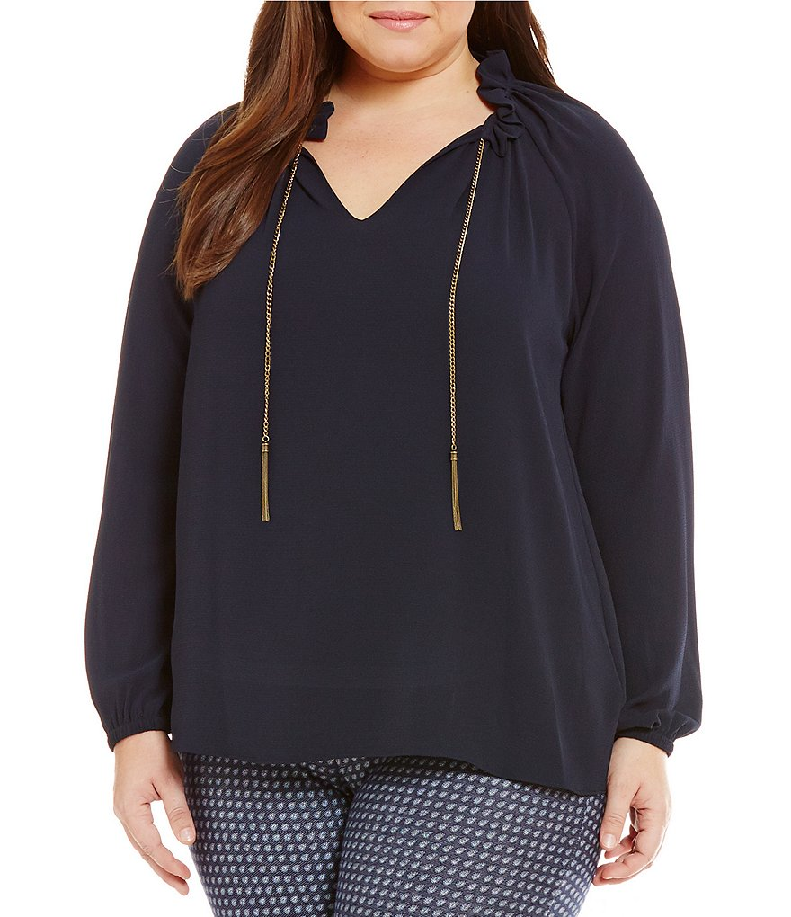 MICHAEL Michael Kors Plus Textured Crepe Spit V-Neck Chain Tie Blouse