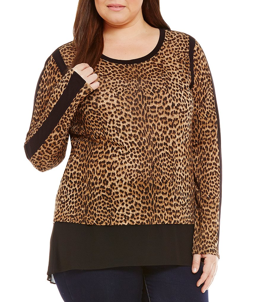 MICHAEL Michael Kors Plus Persian Leopard Print Knit Jersey Hi-Low Woven Hem Top
