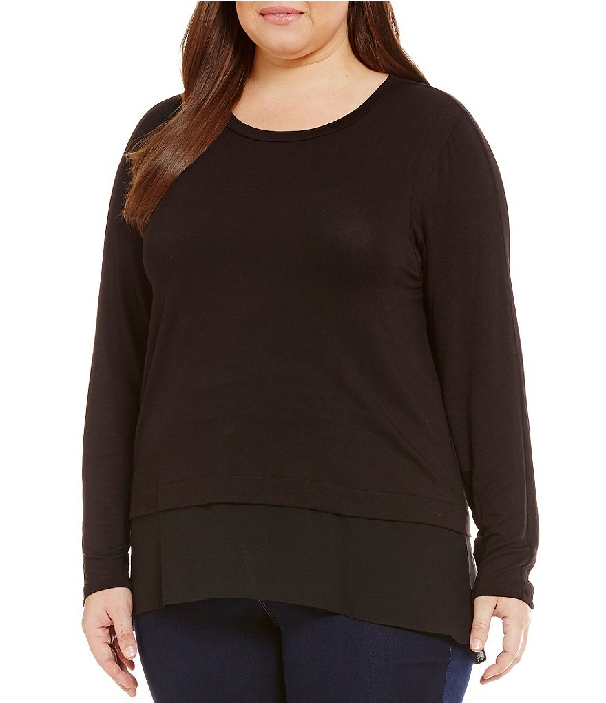 MICHAEL Michael Kors Plus Knit Jersey Hi-Low Woven Hem Top