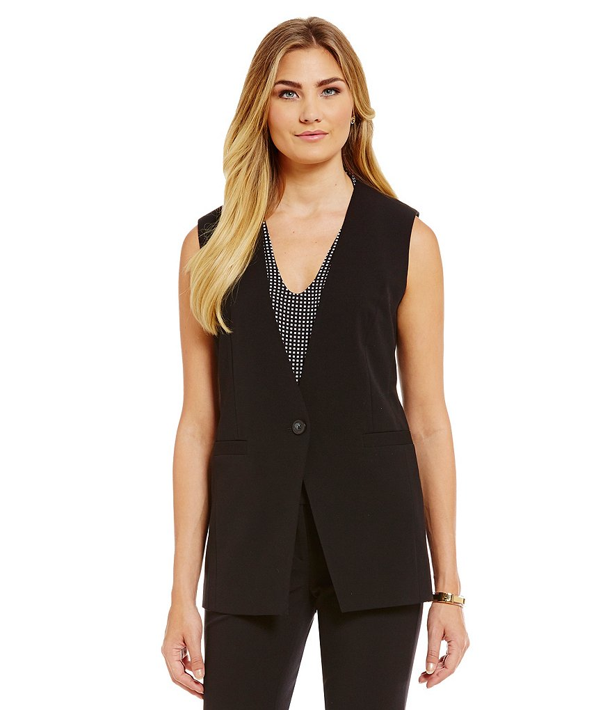 MICHAEL Michael Kors Stretch Crepe Cutaway Long Vest