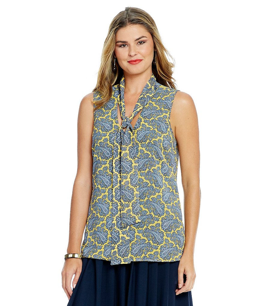 MICHAEL Michael Kors Paisley Printed Georgette Sleeveless Tie-Neck Blouse