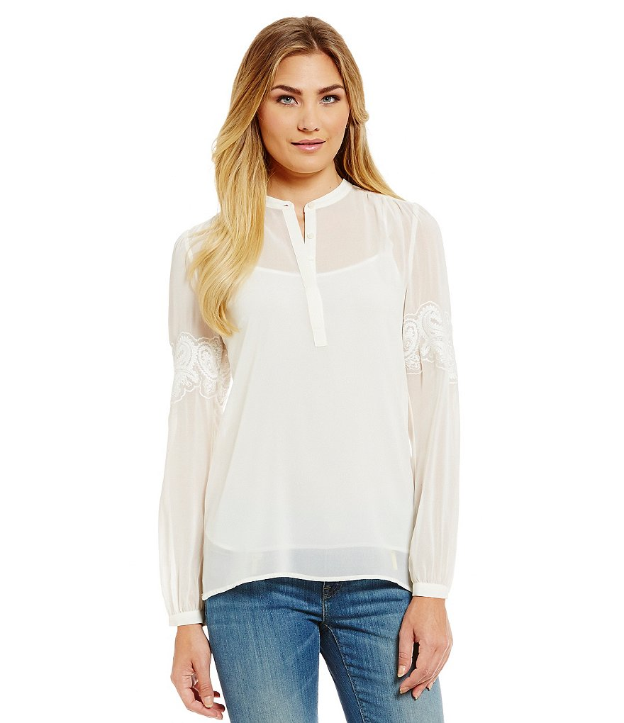 MICHAEL Michael Kors Embroidered Bell Sleeve Chiffon Hi-Low Hem Top