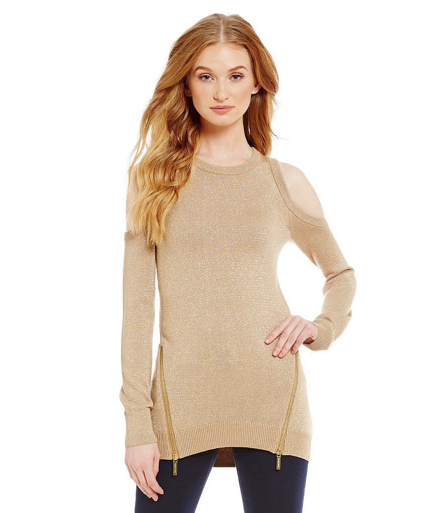 MICHAEL Michael Kors Cold Shoulder Zipper Metallic Knit Sweater