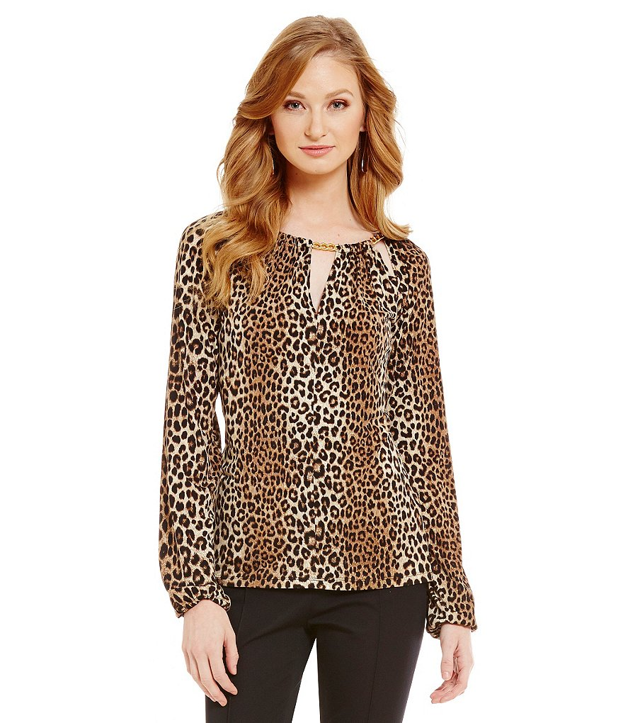MICHAEL Michael Kors Chain Bar-Neck Panther Print Matte Jersey Peasant Top