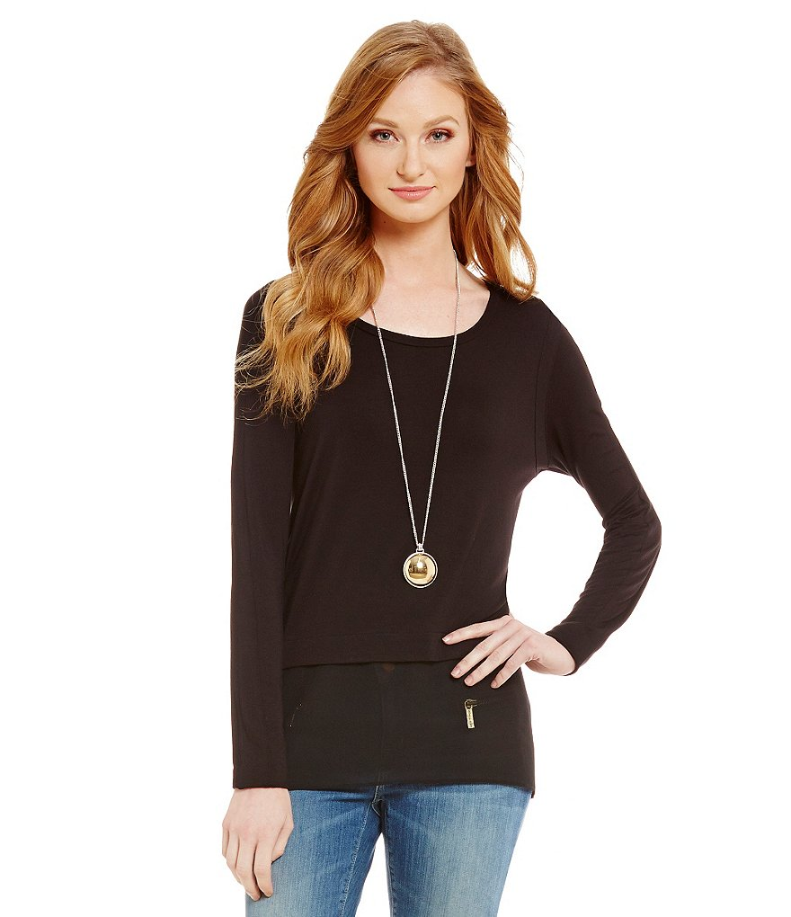 MICHAEL Michael Kors Knit Jersey Hi-Low Woven Hem Top